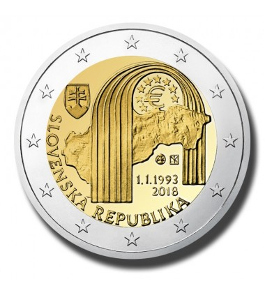 2018 Slovakia 25Th Anniversary Of The Replublic 2 Euro Commemorative Coin