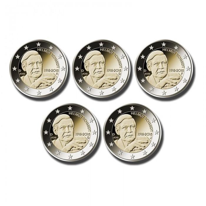 Commemorative Sch | 2018 Germany A D F G J Helmut Schmidt 2 Euro Commemorative X 5 Coin