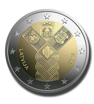 2018 Latvia 100 Years of the Baltic States 2 Euro Commemorative Coin