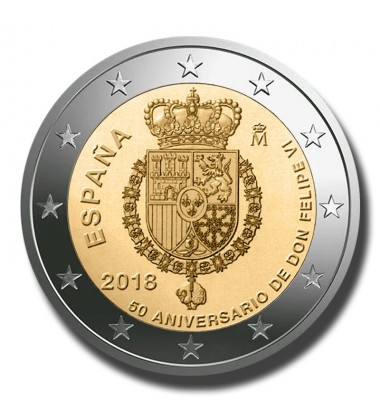 2018 Spain 50th Anniversary King Felipe VI 2 Euro Coin