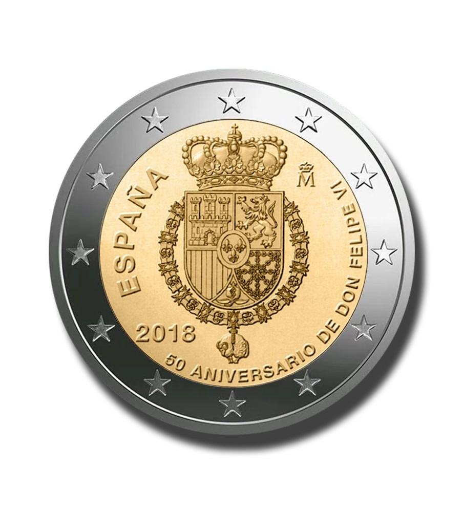 2018 Spain 50th Anniversary King Felipe VI 2 Euro Coin