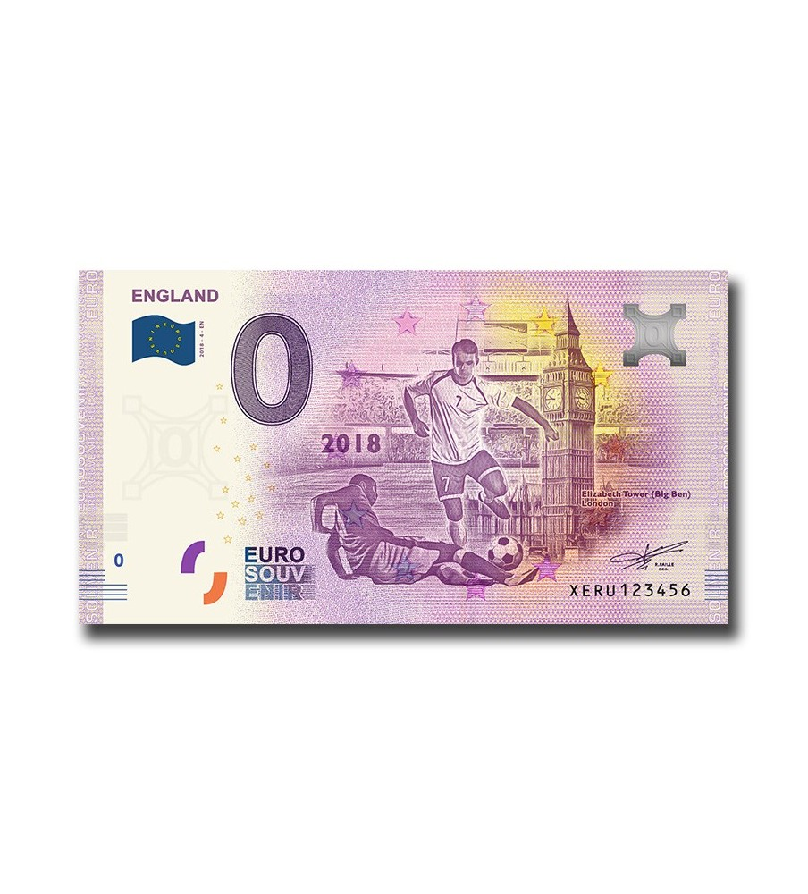 0 Euro Souvenir Banknote World Cup Favourites 9 Different Uncirculated