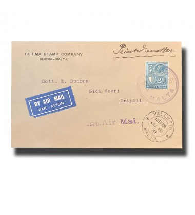1931 Malta to Tripoli First Flight Airmail Cover Postal History