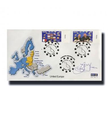 2004 Malta Signed "E Fenech Adami' FDC United Europe