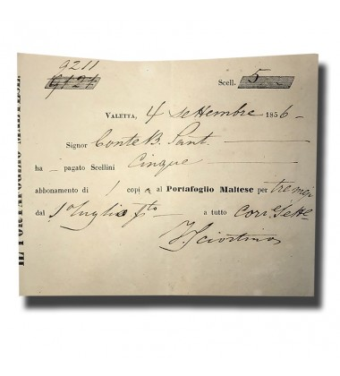 1856 Malta Ephemera Collectable Portafoglio Maltese Receipt