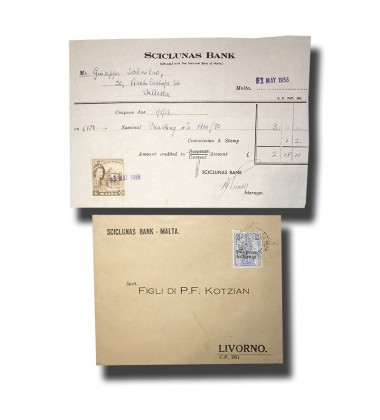 1932 1956 Malta Scicluna's Bank Stationery and Postal History Cover