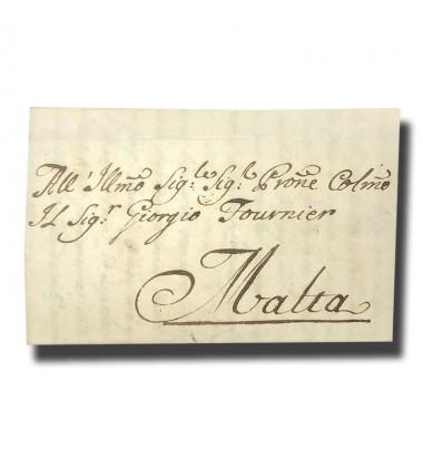 1756 Roma Italy Italia to Malta Entire Letter Cover Postal History