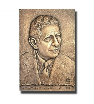 1989 Malta Prime Minister G.Borg Olivier Bronze Commemorative Plaque 1 of 20