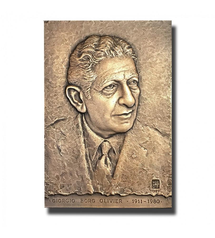 1989 Malta Prime Minister G.Borg Olivier Bronze Commemorative Plaque 1 of 20