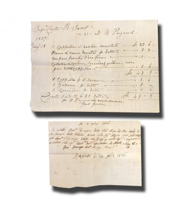 1826 Malta Receipt and 1827 Invoice Lot of 2