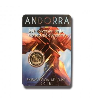 2018 ANDORRA 25TH ANNIVERSARY OF THE CONSTITUTION 2 EURO COMMEMORATIVE COIN