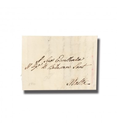 1826 Rome Italy To Malta Entire Letter Internal Charge Mark Postal History