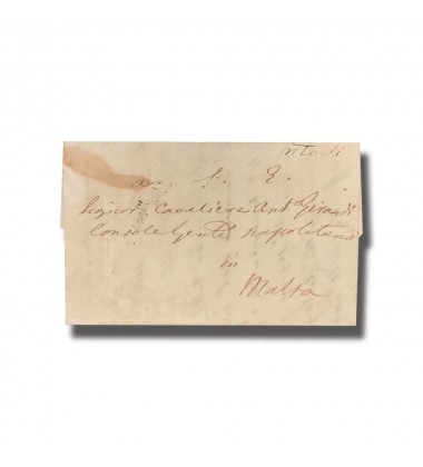 1826 Pernice Italy To Malta Entire Letter Internal Charge Mark PO