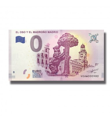 Spain 2018 El Oso Y El Madrono Madrid 0 Euro Banknote Uncirculated 004798