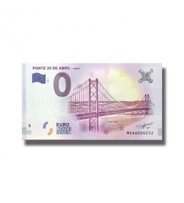 Portugal 2018 Ponte 25 De Abril Lisboa 0 Euro Banknote Uncirculated 004808