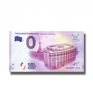France 2018 Tour Montparnasse Observatoire Panoramique 0 Euro Banknote Uncirculated 004838