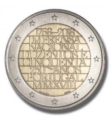 2018 Portugal 250 Years of National Printing 2 Euro Commemorative Coin