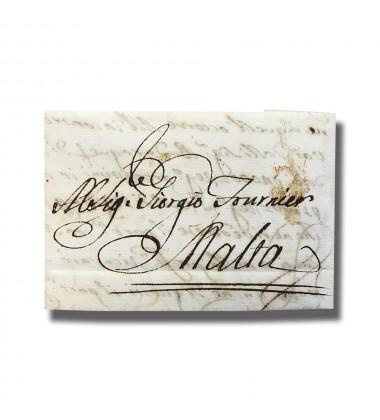 1767 Rome Roma Italy Italia to Malta Entire Letter Cover Postal History 004904