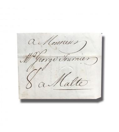 1772 Livorno Italy Italia to Malta Entire Letter Cover Postal History 004905