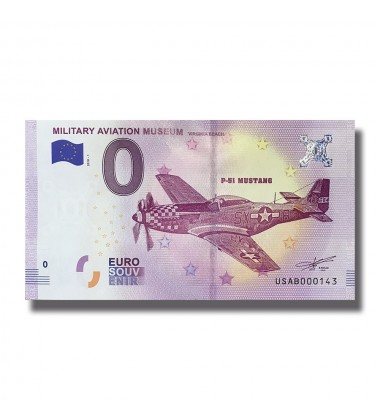 USA 2018 Military Aviation Museum Virginia Beach P51 Mustang 0 Euro Banknote 005036