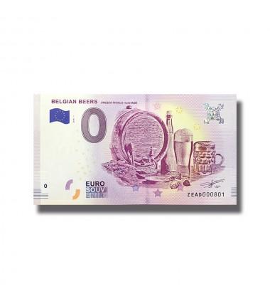 BELGIUM 2018 BELGIAN BEERS UNESCO WORLD HERITAGE 0 EURO SOUVENIR BANKNOTE 005063
