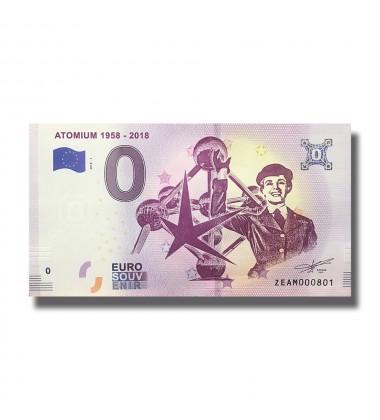 Belgium 2018 Atomium 1958 - 2018 0 Euro Souvenir Banknote