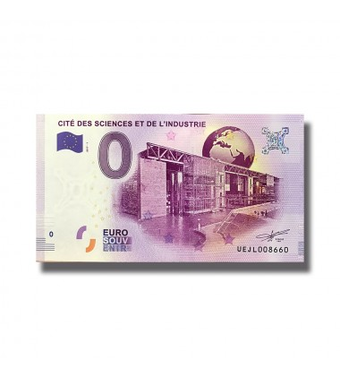 France 2018 Cite Des Sciences Et De L'Industrie 0 Euro Souvenir Banknote 005084
