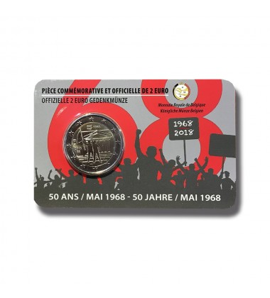 2018 BELGIUM COIN CARD  1986 STUDENT REVOLT BE 2 EURO COMMEMORATIVER COIN