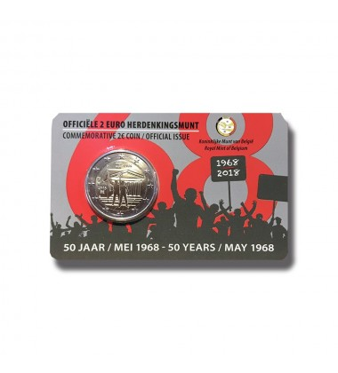 2018 BELGIUM COIN CARD  1986 STUDENT REVOLT NL 2 EURO COMMEMORATIVER COIN