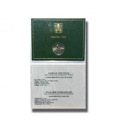 2018 VATICAN ANNO EUROPEO DEL PATRIMONIO CULTURALE 2 EURO COMMEMORATIVE COIN