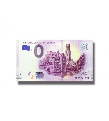 0 EURO SOUVENIR BANKNOTE HISTORIC CENTRE OF BRUGES 2018 BELGIUM ZEAN