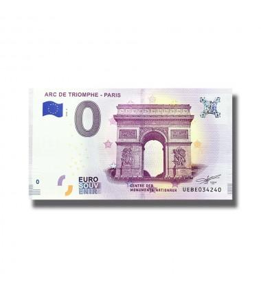 0 EURO SOUVENIR BANKNOTE ARC DE TRIOMPHE PARIS 2018 FRANCE UEBE