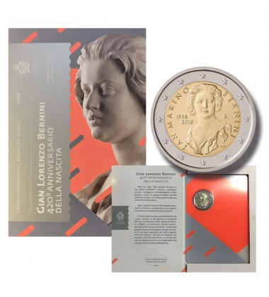 2018 SAN MARINO 420 ANNIVERSARY BIRTH OF BERNINI 2 EURO COMMEMORATIVE COIN