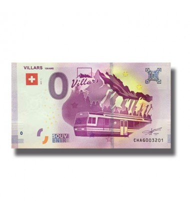 0 EURO SOUVENIR BANKNOTE VILLARS 150ANS 2017 SWITZERLAND 005325