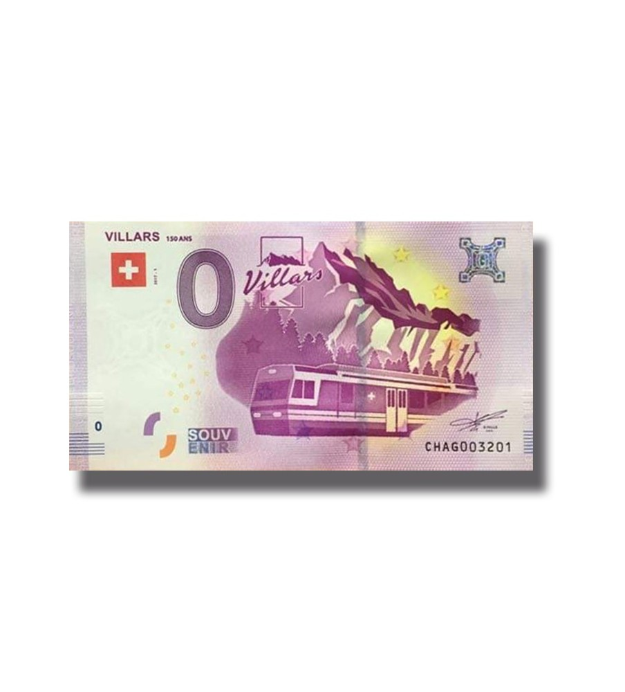 0 EURO SOUVENIR BANKNOTE VILLARS 150ANS 2017 SWITZERLAND