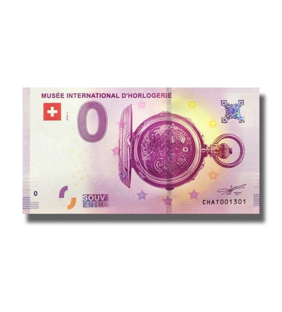 0 EURO SOUVENIR BANKNOTE MUSEE INTERNATIONALD`HORLOGERIE 2018 SWITZERLAND