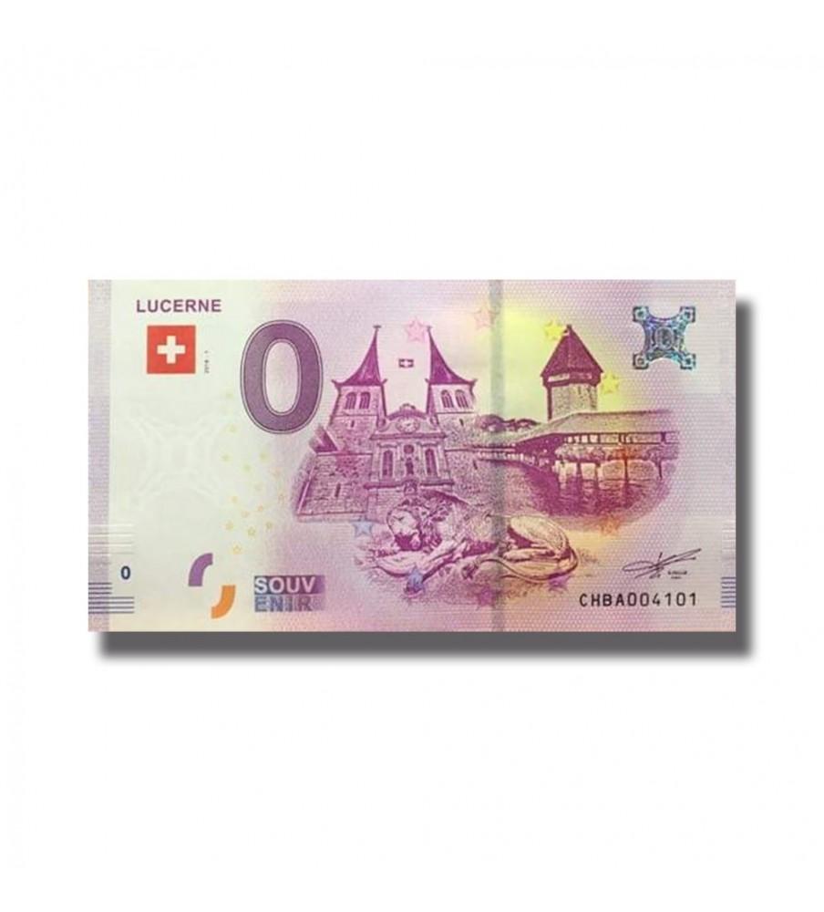 0 EURO SOUVENIR BANKNOTE LUCERNE 2018 SWITZERLAND 005331