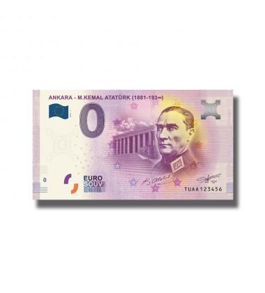 0 Euro Souvenir Banknote Turkey Ankara M. Kamal Ataturk TUAA