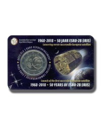 2018 BELGIUM ESRO 2B SATELLITE 2 EURO COMMEMORATIVE COIN CARD
