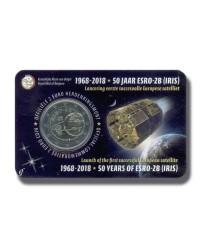 2018 BELGIUM ESRO 2B SATELLITE 2 EURO COMMEMORATIVE COIN CARD