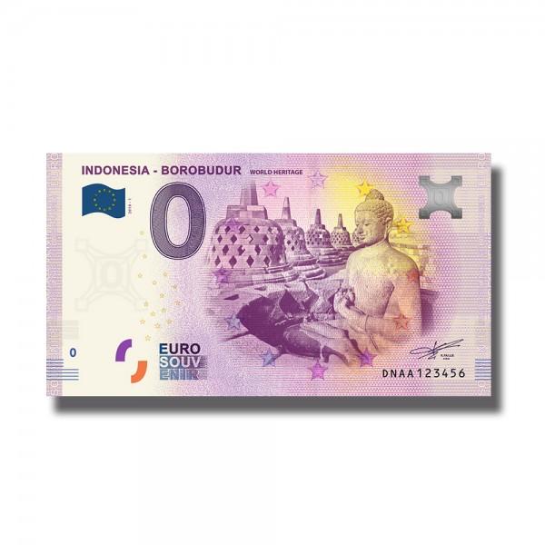 0 Euro Souvenir Banknote Indonesia Borobudur Unesco World Heritage 2019 Indonesia DNAA