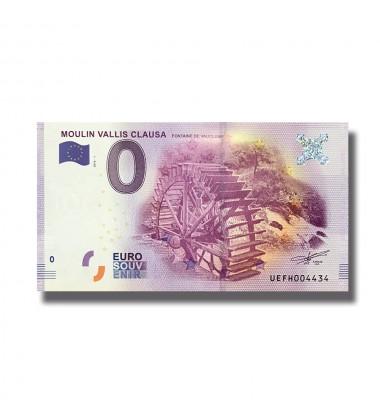 0 EURO SOUVENIR BANKNOTE MOULIN VALLIS CLAUSA FRANCE 2016-1 UEFH