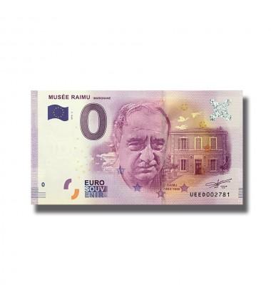 0 EURO SOUVENIR BANKNOTE MUSEE RAIMU FRANCE 2016-3 UEED