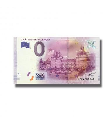0 EURO SOUVENIR BANKNOTE CHATEAU DE VALENCAY FRANCE 2016-1 UEEV