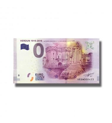0 EURO SOUVENIR BANKNOTE VERDUN 1916-2016 FRANCE 2016-3 UEEW