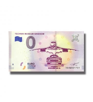 0 EuroSouvenir Banknote Technik Museum Sinsheim Concorde Mercedes Germany 2019-4 XEAW