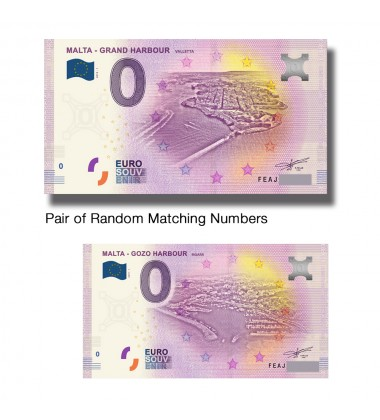 0 Euro Souvenir Banknote Malta Mgarr Harbour and Malta Grand Harbour Matching Numbers FEAH FEAJ
