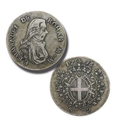 1796 DE ROHAN 2 SCUDI - KNIGHTS OF MALTA SILVER COIN