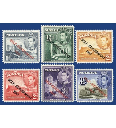 MALTA STAMPS OVERPRINT SELF'GOVERNMENT 1947 NEW COLOURS