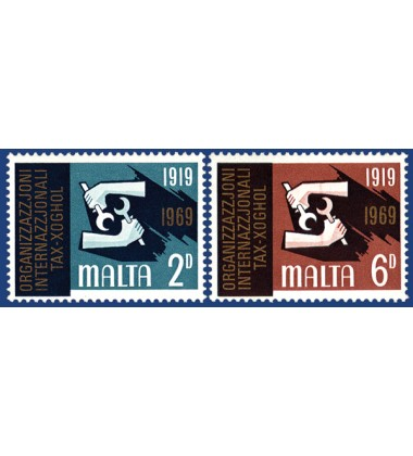 MALTA STAMPS 50TH ANNIVERSARY OF THE INT LABOUR ORGANIZATION